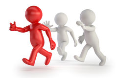 3d small people - running with a red royalty free illustration