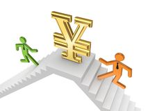 3d small people running to a yen symbol. Stock Images