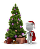 3d small people - Santa and a Christmas tree Stock Photo