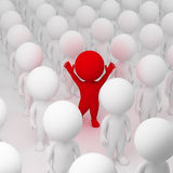 3d small people - segregate. 3d small people allocated from crowd. 3d image Stock Photo