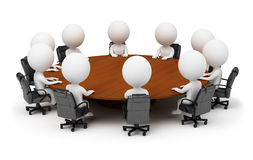 3d small people - session behind a round table Royalty Free Stock Photos