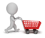 3d small people - shopping cart. 3d small person with a shopping cart. 3d image. White background Stock Photos