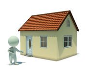 3d small people - show a home. 3d small people shows the house . 3d image. Isolated white background Stock Image