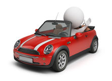 3d small people - small car. 3d small people driving the small car. 3d image. Isolated white background Stock Photo