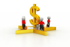 3d small people standing on a star and dollar sign Stock Images