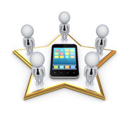 3d small people on a star and modern mobile phone. Royalty Free Stock Photo