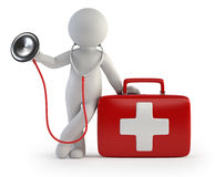 3d Small People - Stethoscope And Medical Kit Stock Photos