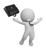 3d small people - successful businessman. 3d small person - businessman jumping with joy and threw his briefcase. 3d image. White background Stock Photography