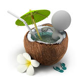 3d small people - takes a bath coconut. 3d small person sitting in a coconut bath under an umbrella. 3d image. White background