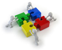 3d small people - team with the puzzles Stock Photography