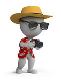 3d small people - tourist with a camera Royalty Free Stock Image