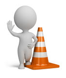 3d small people - traffic cone. 3d small person standing in the warning position next to traffic cone. 3d image. white background Stock Photography