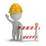 3d small people - under construction. 3d small person in a helmet in the stop position, close to the limit stop. 3d image. White background Stock Photo