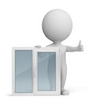 3d small people - window royalty free illustration