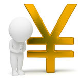 3d small people - yen sign. 3d small people with a yen sign. 3d image. Isolated white background Stock Photography