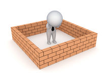 3d small person behind brick wall. Royalty Free Stock Images