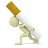 3d small person carries a heavy cigarette. Royalty Free Stock Images