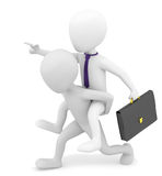 3d small person carries on his back businessman. 3d image. On a white background Stock Photos