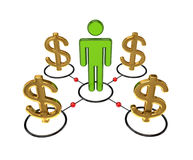 3d small person and dollar signs. Royalty Free Stock Image