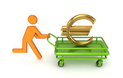 3d small person and gold euro sign on a pushcart. Running 3d small person and gold euro sign on a pushcart. Isolated on white background Stock Photo