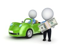 3d small person with a green car. Royalty Free Stock Photo