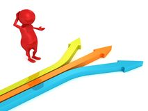 3d small person with hard choice arrows ways. 3d Royalty Free Stock Photo