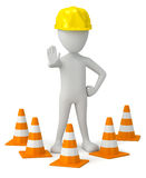 3d small person in a helmet-traffic cone. Stock Photo