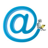 3D small person with a laptop sitting on my email. Royalty Free Stock Photography