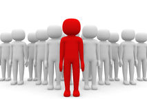 3d small person the leader of a team allocated with red colour Stock Photo