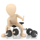 3d small person lifts weights. 3d image. On a white background Royalty Free Stock Images