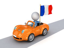 3d Small Person On Orange Car With French Flag. Royalty Free Stock Photos