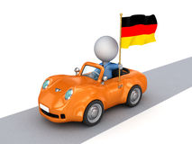3d Small Person On Orange Car With German Flag. Royalty Free Stock Image