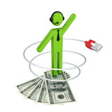 3d small person with a patchcord and dollars. Royalty Free Stock Photography