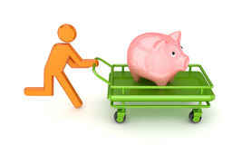 3d small person and piggy bank on a pushcart. Stock Photography