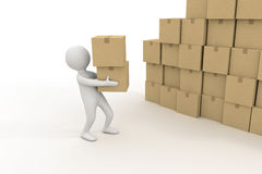 3d small person and pile of cardboard boxes. 3d small person is holding a cardboard boxes Stock Images