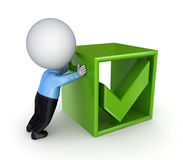 3d small person pushing a green tick mark. Stock Photos