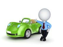 3d small person selling the car. Stock Photos