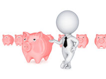 3d small person showing on a pink piggybank. Royalty Free Stock Photography