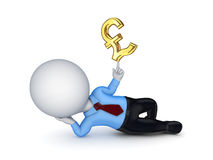 3d small person with a sign of pound sterling. Royalty Free Stock Photo