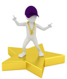 3d small person - a star. 3d image. On a white background Royalty Free Stock Photo