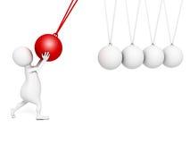 3d Small Person Swaying Pendulum Newton Royalty Free Stock Image
