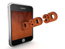 3D smart phone. An isolated black, silver and bronze smart phone with 3D emerging from the screen Royalty Free Stock Image