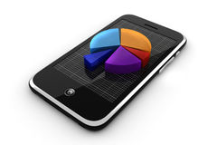 3d smart phone and graph, online business concept Stock Images