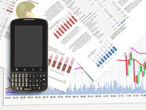 3d smartphone on a market report. Smartphone on a market report Royalty Free Stock Images