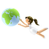 3D smiling beautiful woman looking at the earth in Stock Photos