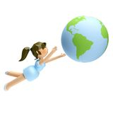 3D smiling beautiful woman looking at the earth in Royalty Free Stock Photography