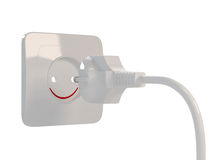 3d Smiling Outlet. 3d render of smiling outlet on white background Stock Photo