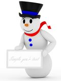 3D smiling snowman with sign. Isolated on white background with soft shadows Stock Photos