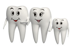 3d smiling Tooth family icon - isolated. Happy White Tooth family walking hand in hand royalty free illustration