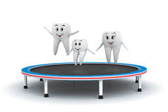 3d smiling Tooth family jumping on trampoline vector illustration